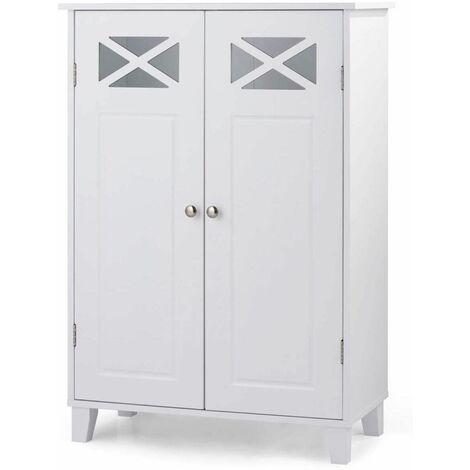 Armario de Baño Suelo con Estantes y Puerta Mueble de Baño de Pie Gabinete para Dormitorio Cocina Blanco