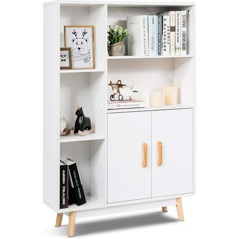 Armario de Consola Blanco Aparador con Puerta y Compartimentos Estantería Librería de Madera Estante Lateral para Hogar Oficina Salón
