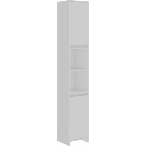 Armario de cuarto de baño aglomerado blanco 30x30x183,5 cm
