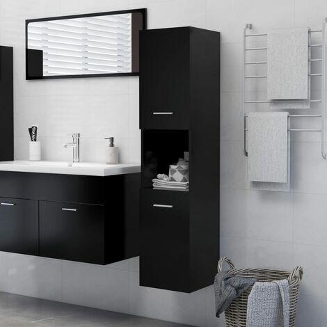 Armario de cuarto de baño aglomerado negro 30x30x130 cm - Negro