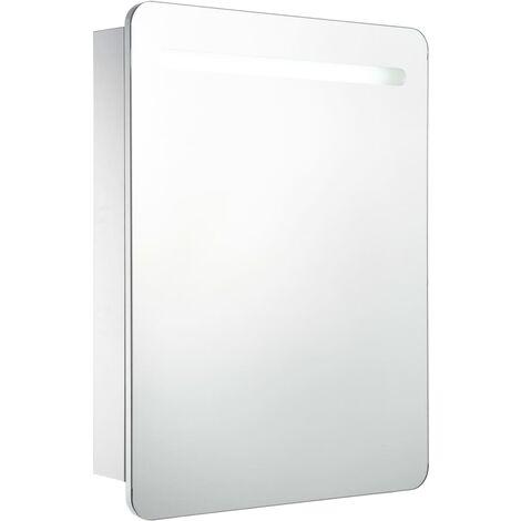 Armario de cuarto de baño con espejo y LED 60x11x80 cm