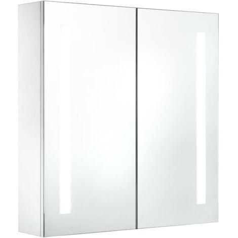 Armario de cuarto de baño con espejo y LED 62x14x60 cm