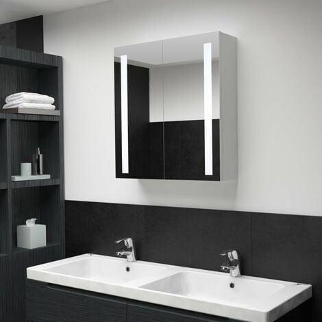 Armario de cuarto de baño con espejo y LED 62x14x60 cm - Blanco