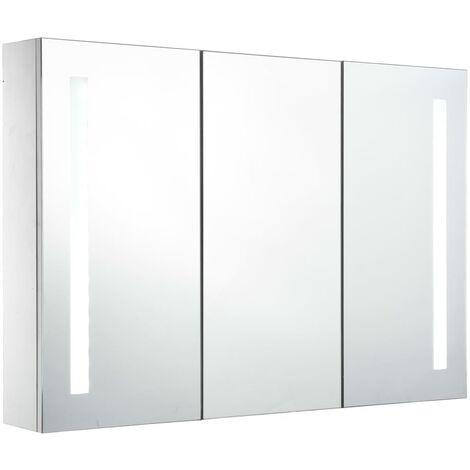 Armario de cuarto de baño con espejo y LED 89x14x62 cm
