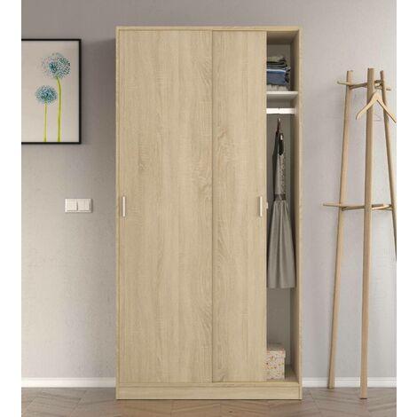 Armario de dos puertas correderas con barra de suspensión y un estante interno, color roble, de 200x100x50cm.