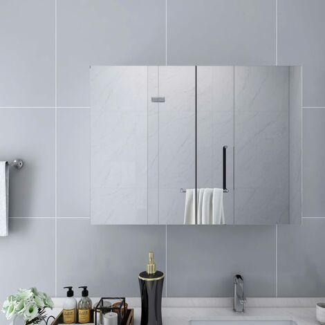 Armario de espejo de baño MDF blanco 80x15x60 cm - Blanco