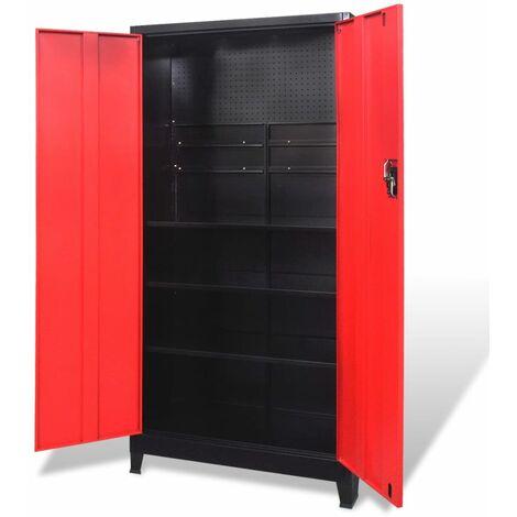 Armario de herramientas 2 puertas acero negro/rojo 90x40x180 cm