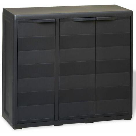 Armario de jardín con 2 estantes negro