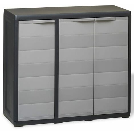 Armario de jardín con 2 estantes negro y gris