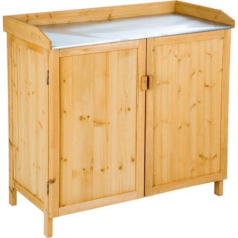 """main image of """"Armario de jardín con tablero de mesa de chapa galvanizada - mueble de terraza de madera, armario exterior para trabajos de jardinería, armario para barbacoa con estantes - marrón"""""""