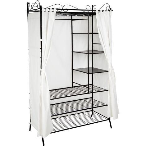 Armario de metal con cortina - armario sin puertas con cortinas, armario ropero con estantes para zapatos, mueble para vestidor con estructura de acero - negro