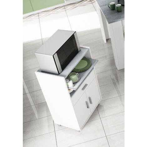 Armario de microondas de 92 cm Blanco Mate y Cemento con dos puertas y un cajón | Blanco