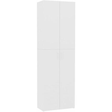 Armario de oficina de aglomerado blanco 60x32x190 cm