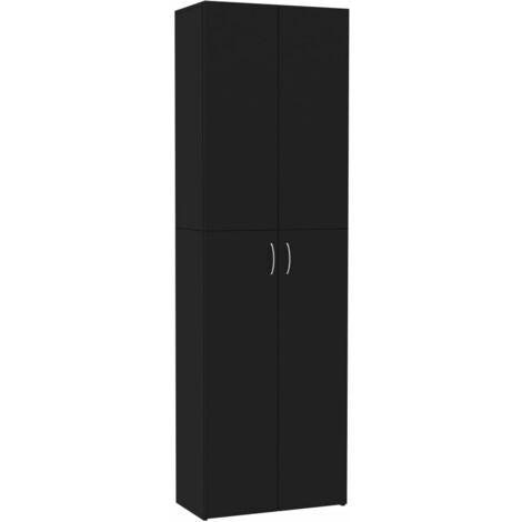 Armario de oficina de aglomerado negro 60x32x190 cm