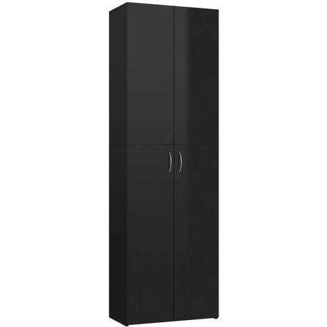 Armario de oficina de aglomerado negro brillante 60x32x190 cm