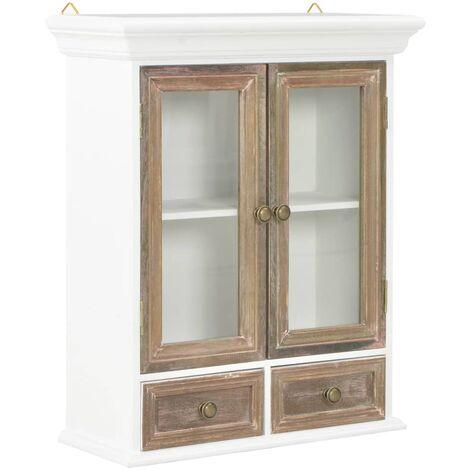 Armario de pared de madera maciza blanco 49x22x59 cm