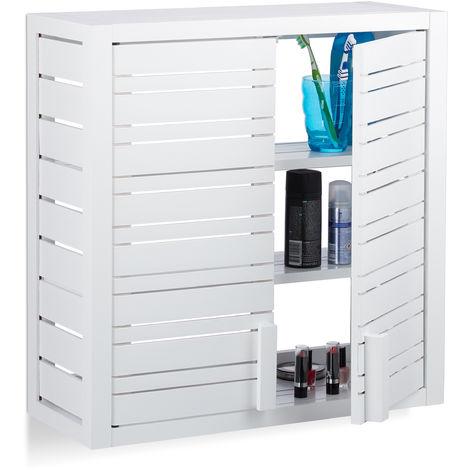 Armario de pared, Dos puertas, Altura ajustable, Para colgar, Bambú, Blanco, 56,5 x 56 x 21 cm