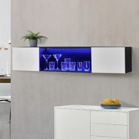 Armario de pared elegante con iluminación LED Azul - 150 x 30 x 30 cm - Mueble de Salón para TV Flotante - Cómoda - Consola - 2 Puertas y un Estante para Almacenar - Iluminación interior