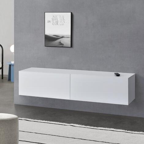 Armario de pared Evaton - Mueble de TV de pared - 140 x 33 x 30 cm - Mesa de centro flotante - Consola de pared - Blanco mate