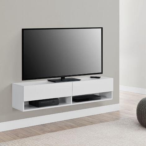 Armario de pared Halmstad - Mueble de TV de pared - 140 x 31 x 30 cm - Mesa de centro Flotante con Compartimentos y 2 Puertas - Consola de pared - Blanco