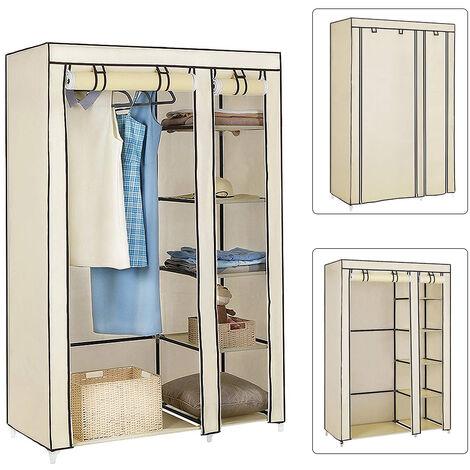 Armario de tela 2 unidades para Closet organizador |Textil Plegable |Color Beige 110*45*175cm