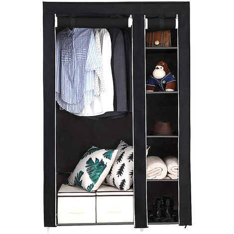 Armario de tela 2 unidades para Closet organizador |Textil Plegable |Color Negro 172*105*43cm