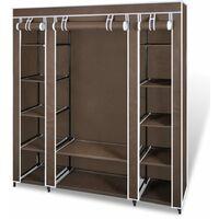 Armario de tela compartimentos y varillas 45x150x176cm marrón