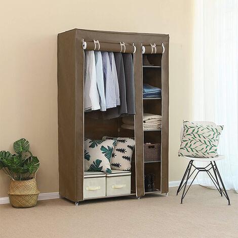 Armario de tela compartimentos y varillas Guardarropa 110x45x178cm marrón