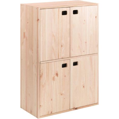 Armario Dinamic de 4 puertas de madera de pino con 4 baldas 105,4x70,8x33 cm