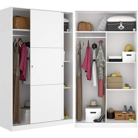 Armario Dormitorio 100 cm de ancho ALTO 204cm Blanco Brillo