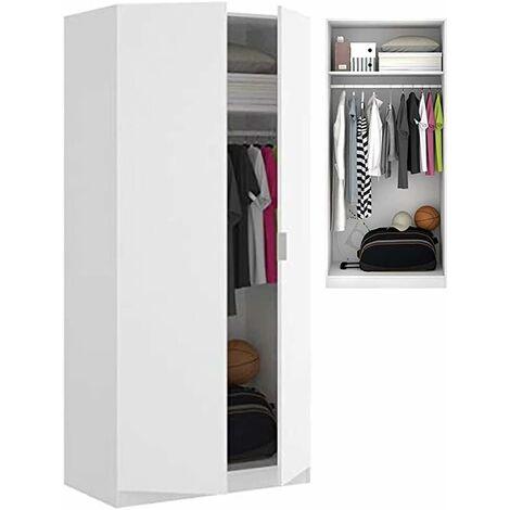 Armario Dormitorio Blanco Mate, Medidas: 180 x 81 x 52 cm de Fondo