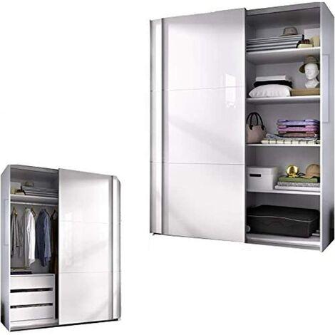Armario Dormitorio con Estantes + Cajonera Color Blanco brillo, Medidas: 150 ancho x 204 x 65 cm de Fondo