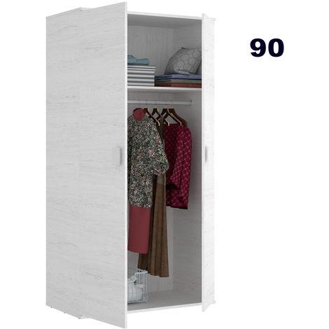 Armario Dormitorio de 90 ancho ALTO 202cm acabado Blanco Artico