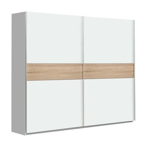 Armario dos Puertas correderas 200 cms Ancho color blanco y roble sonoma ref-01