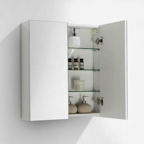 Armario espejo baño 60cm MONTADO Lacado Blanco SIENA - A-600-MIR-HGWHITE 9594660fd727