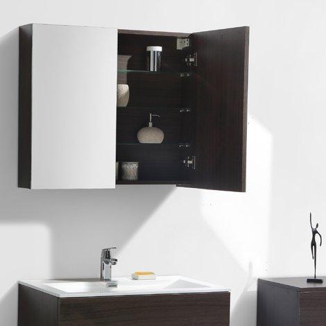 Armario espejo baño 80cm MONTADO tinte Roble Marrón SIENA - A-800 ... 3cb10aaeabe1