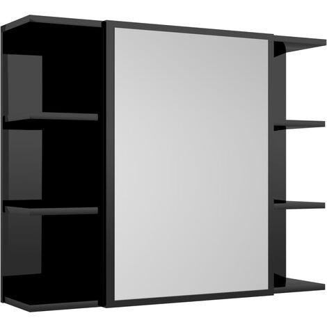 Armario espejo de baño aglomerado negro brillante 80x20,5x64 cm