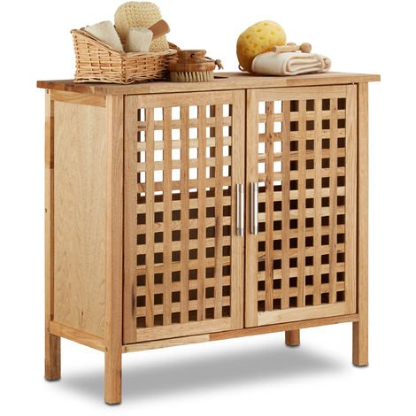– Armario/Gabinete para el cuarto de baño, Madera de nogal, 61 x 66 x 29 cm, Mueble resistente y duradero, Color natural