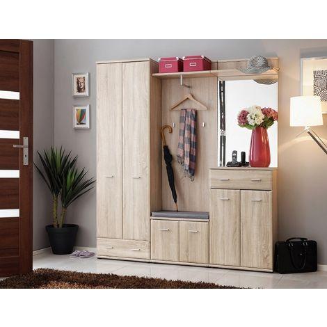 Armario Iii Hall Unit - Wardrobe, Coat rack - with Doors, Shelves, Hooks, Drawers - Oak, Dark Grey made of Chipboard, MDF, Glass, Foam, Nylon, 60 x 32 x 203 cm