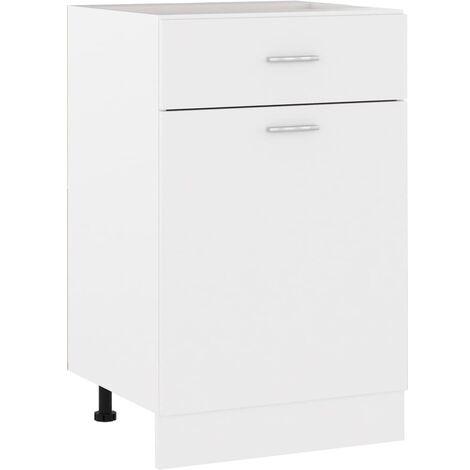 Armario inferior cajón cocina aglomerado blanco 50x46x81,5 cm - Blanco