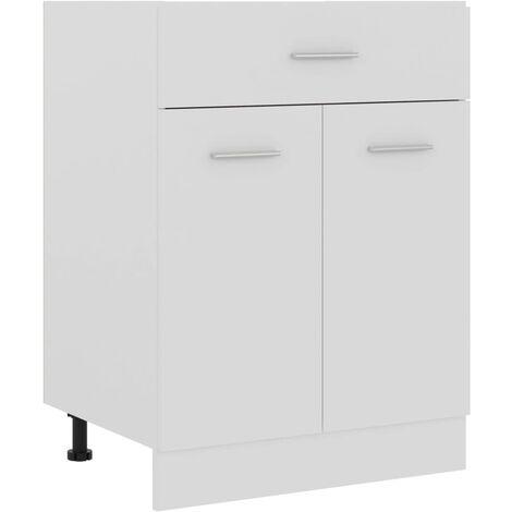 Armario inferior cajón cocina aglomerado blanco 60x46x81,5 cm - Blanco