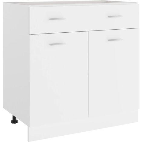 Armario inferior cajón cocina aglomerado blanco 80x46x81,5 cm - Blanco