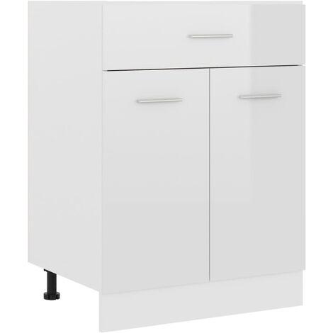 Armario inferior cajón cocina aglomerado blanco brillo - Blanco