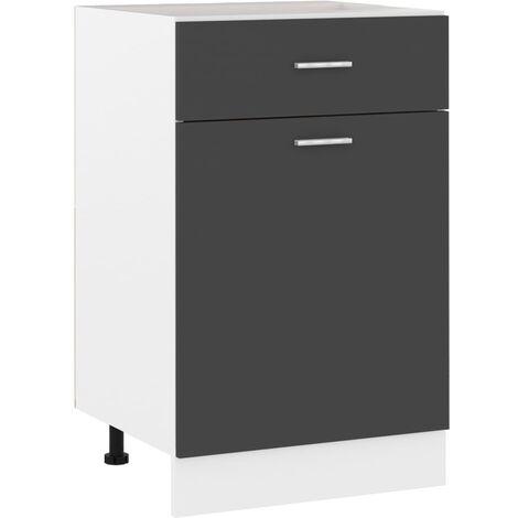 Armario inferior cajón cocina aglomerado gris 50x46x81,5 cm - Gris