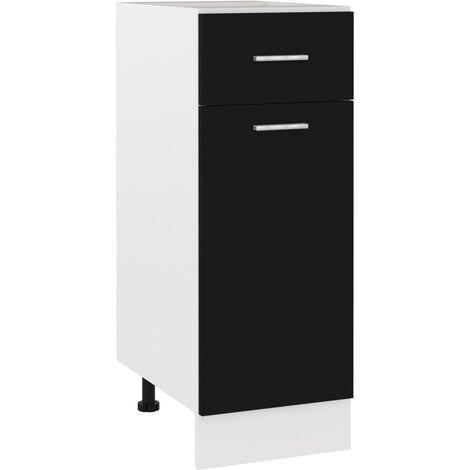 Armario inferior cajón cocina aglomerado negro 30x46x81,5 cm - Negro