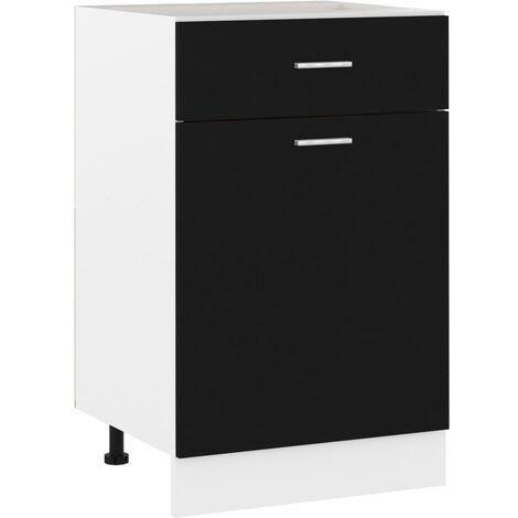 Armario inferior cajón cocina aglomerado negro 50x46x81,5 cm - Negro