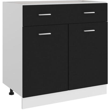 Armario inferior cajón cocina aglomerado negro 80x46x81,5 cm - Negro