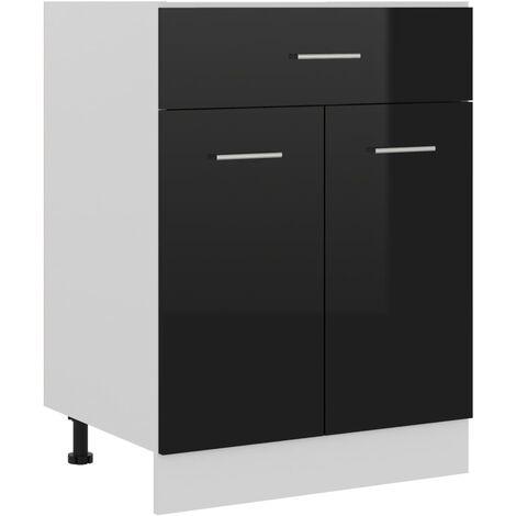 Armario inferior cajón cocina aglomerado negro brillo - Negro