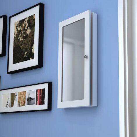 Armario joyero de pared con espejo de madera
