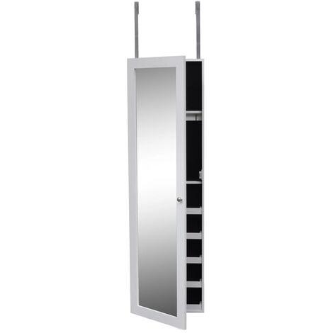 Armario joyero de pared espejo y colgadores de puerta madera